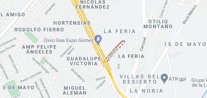 Mapa de Ubicación y como llegar a Expo Gomez Palacio