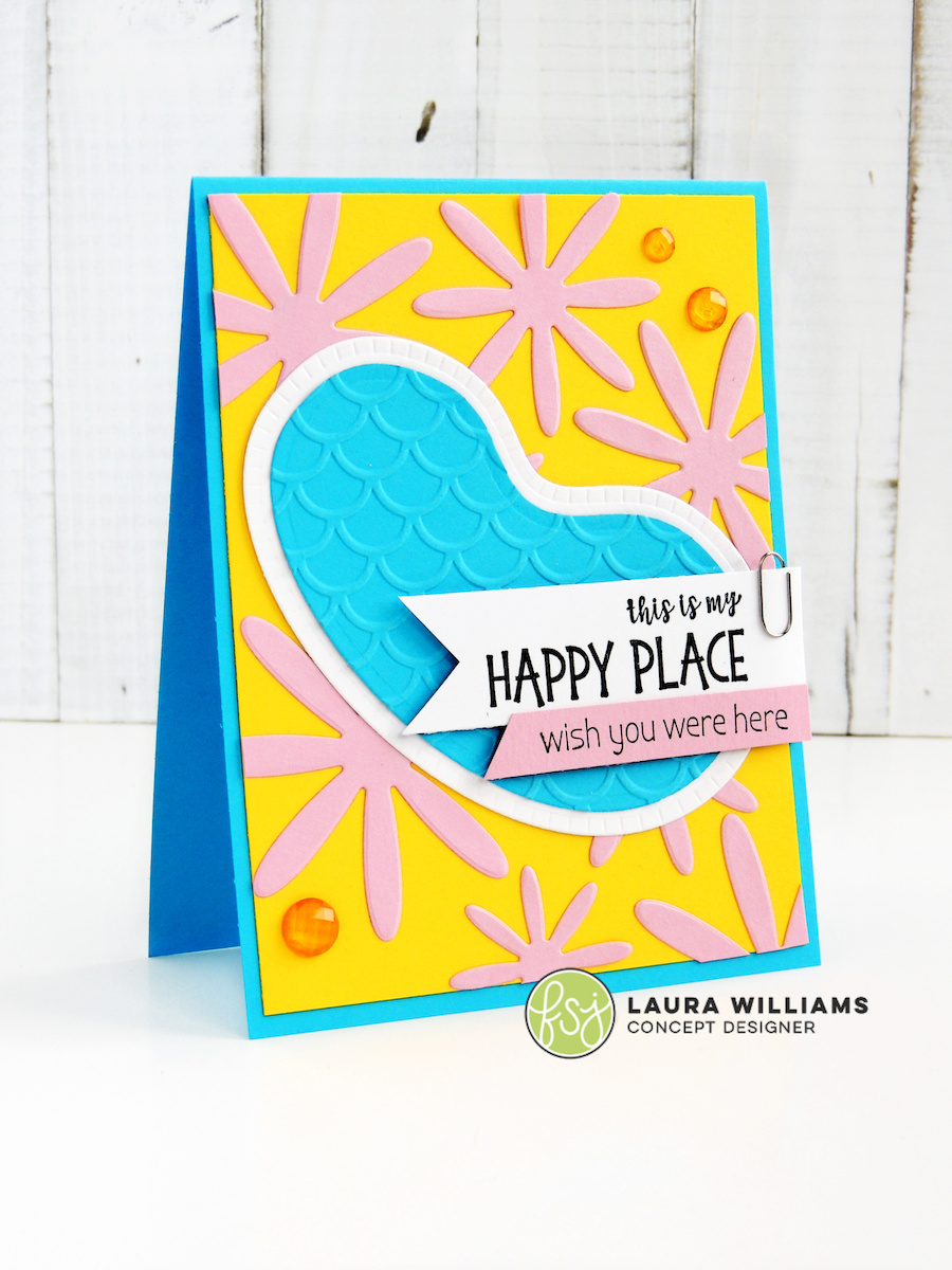 Handmade card making ideas for summer, featuring the Pool With a View die set from Fun Stampers Journey + Spellbinders. This die set is adorable for pool party invitations and summer cards.