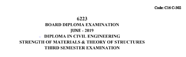 Sbtet Strength of Materials and Theory of Structures previous question paper june 2019