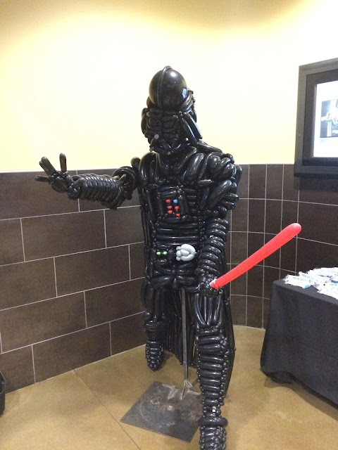 A life size balloon sculpture of Darth Vader made by the Utah Balloon Artist