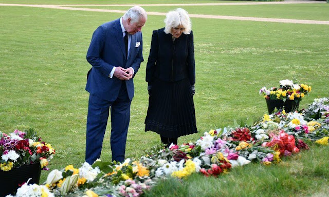 The Prince of Wales and The Duchess of Cornwall have visited Marlborough House Gardens in Westminster. memory of The Duke of Edinburgh