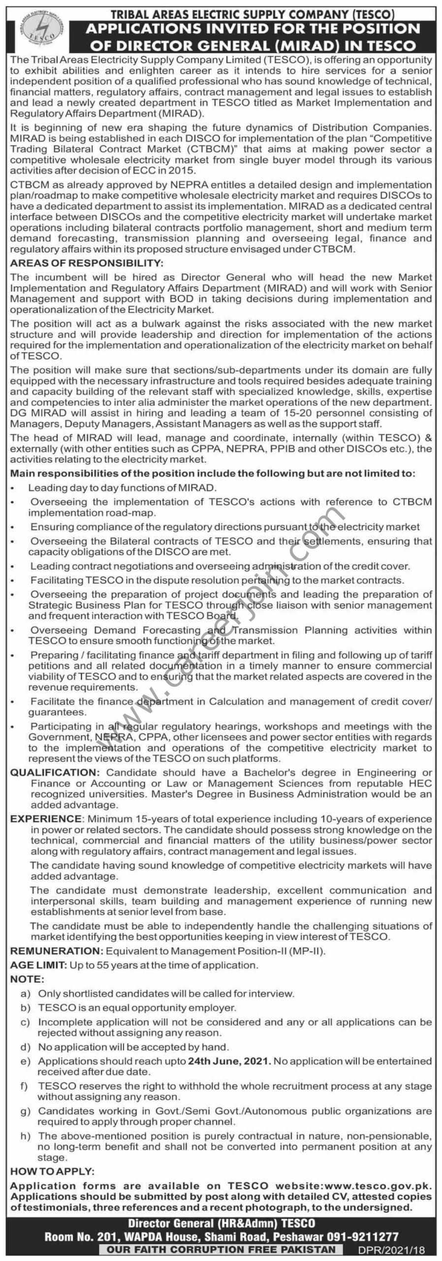 www.tesco.gov.pk - Tribal Areas Electric Supply Company TESCO Jobs 2021 For Director General - TESCO Jobs 2021