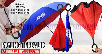 Payung Terbalik Promosi, Kazbrella Upside Down Umbrella, Souvenir Payung Promosi, Kazbrella Unik dan Termurah