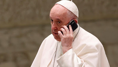 Pope Francis on telephone