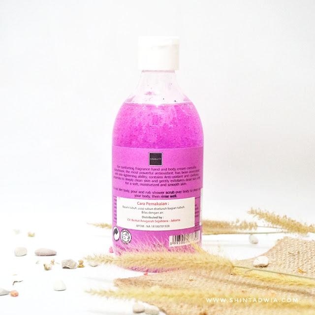 review scarlett brightening shower scrub pomegrante