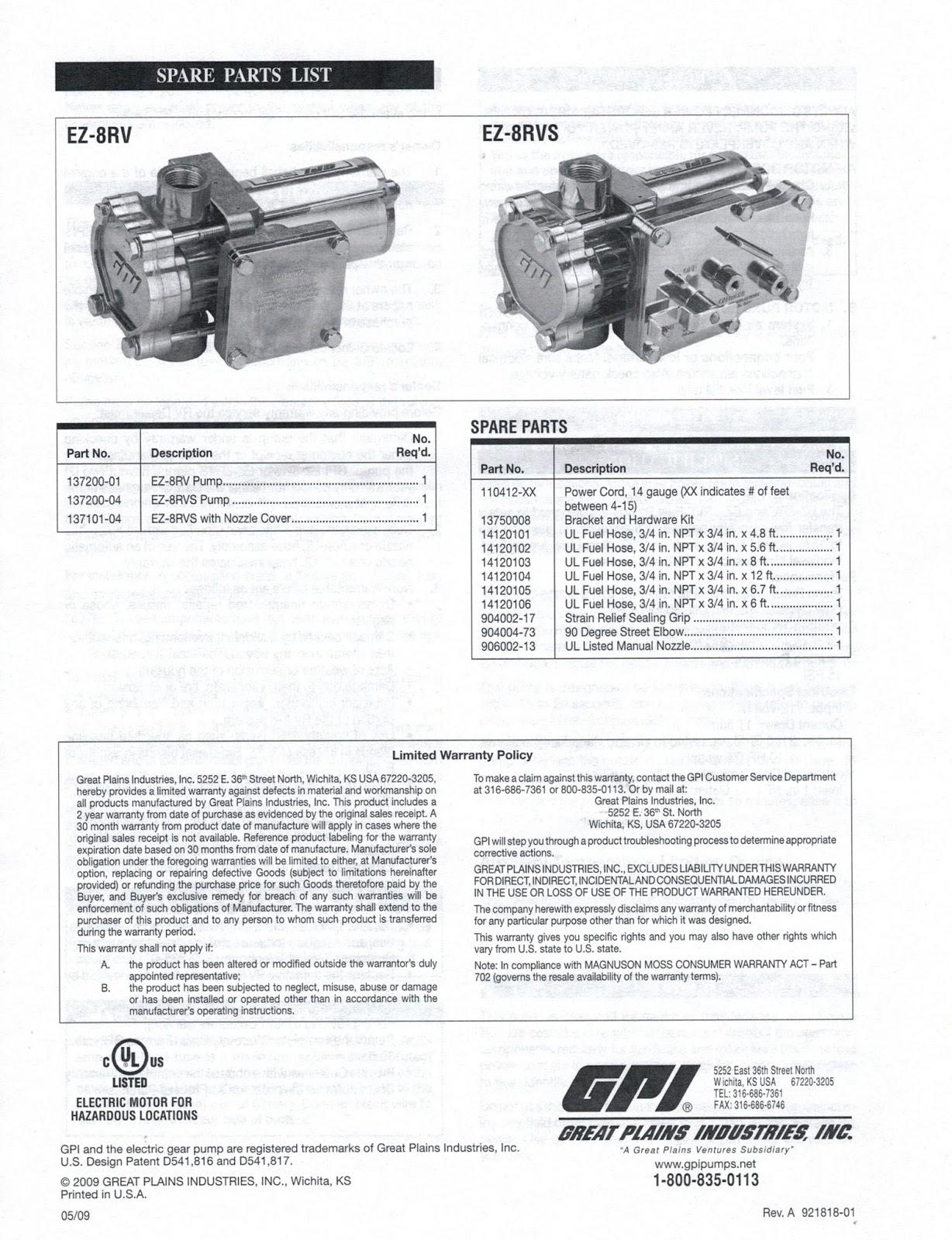 Class A Customs: Great Plains Industries Fuel Transfer Pump w SWITCH