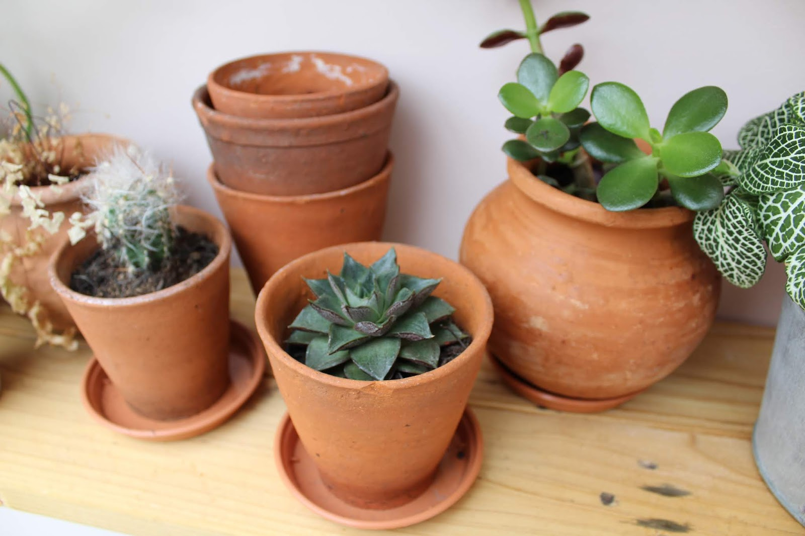 vintage hand thrown plant pots