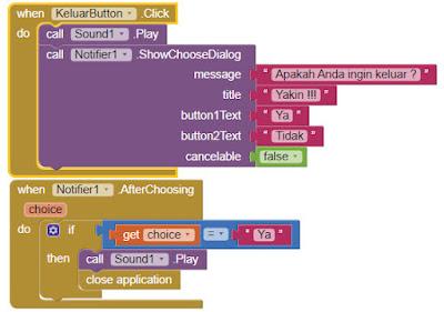 Tombol Exit Dengan Notifikasi MIT App Investor 2 (AI2)