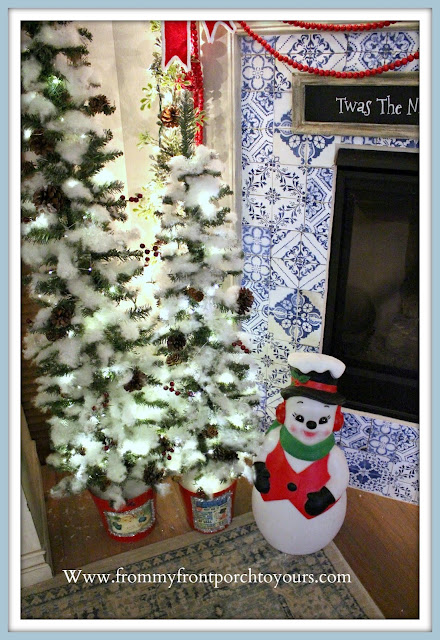 Vintage- Inspired -Cottage -Farmhouse -Christmas- Mantel-Blow-Mold-Snowman-From My Front Porch To Yours