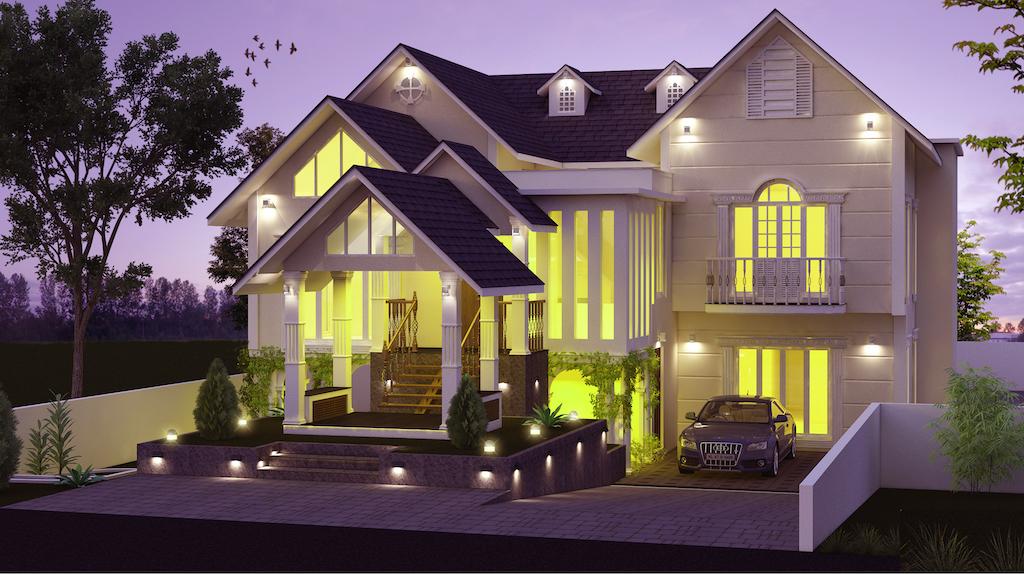 2500 sq ft 4 bed room Kerala villa residence