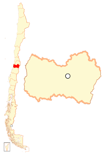 Mapa do Chile, localização da região Ohiggins