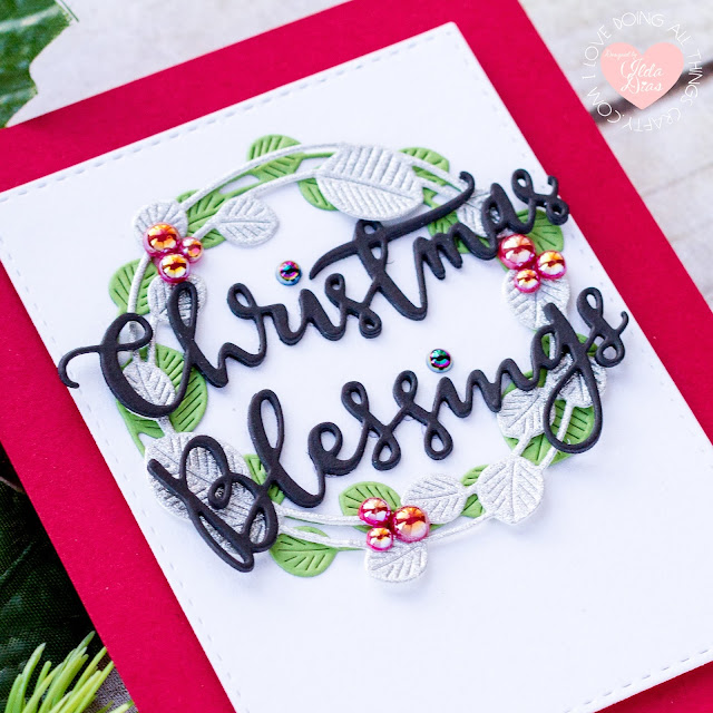 Christmas Blessings, Wreath Card, Simon Says Stamp, STAMPtember, Etched Eucalyptus Wreath Die, Christmas Card, Card Making, Stamping, Die Cutting, handmade card, ilovedoingallthingscrafty, Stamps, how to,