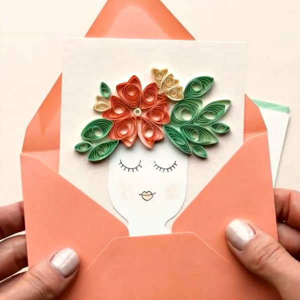 quilled lady vase card in envelope