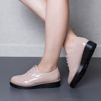 Pantofi dama Esperanta apricot tip Oxford • modlet