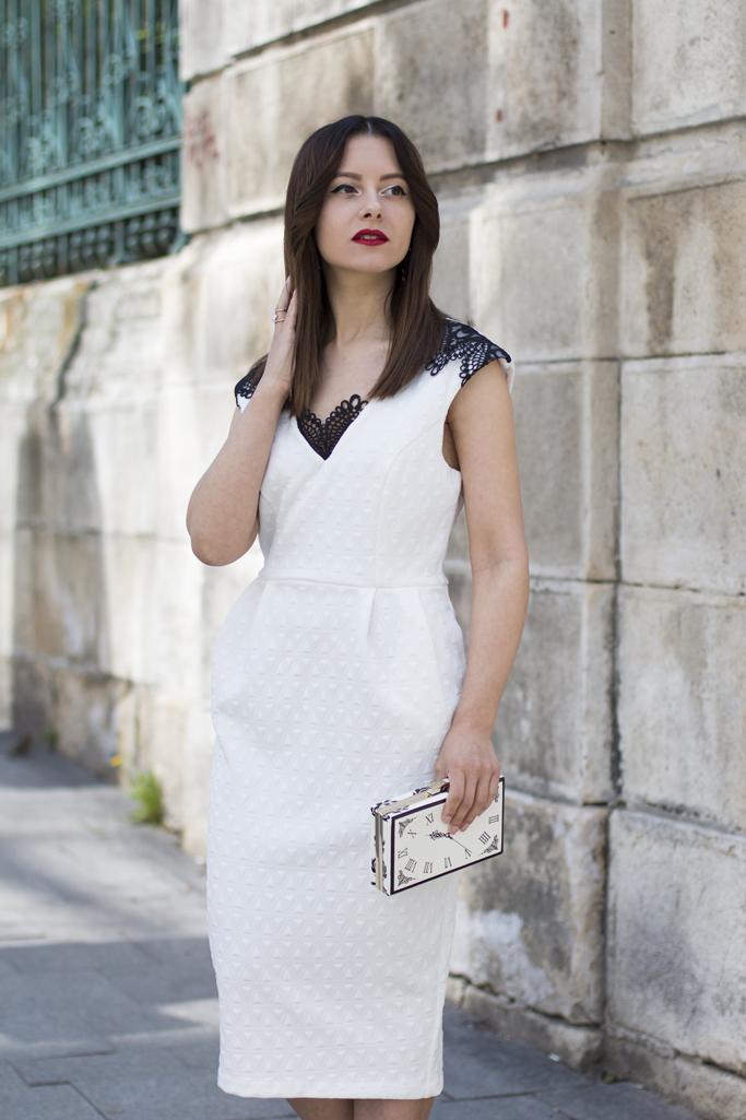 rochie alba midi