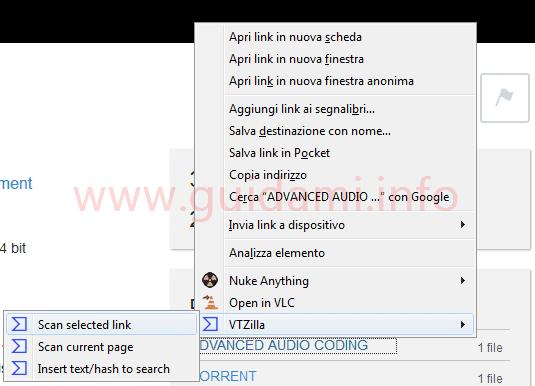 Opzioni VTZilla nel menu contestuale di Firefox