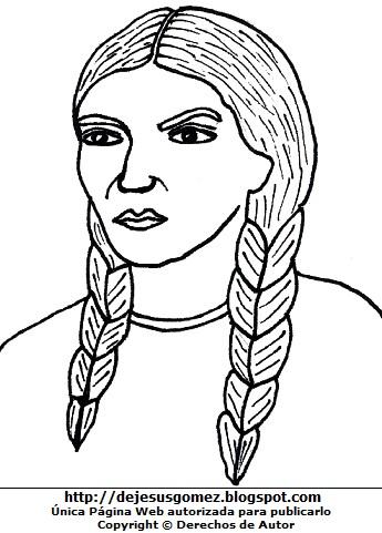 Dibujo de Micaela Bastidas para colorear pintar imprimir. Ilustración de Micaela Bastidas de Jesus Gómez