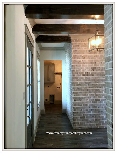Model- Home-Tour-French-Flare-Foyer-Interior Brick-Wood Beams-From My Front Porch To Yours
