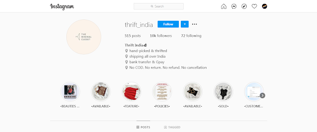 Best thrift store on Instagram in India