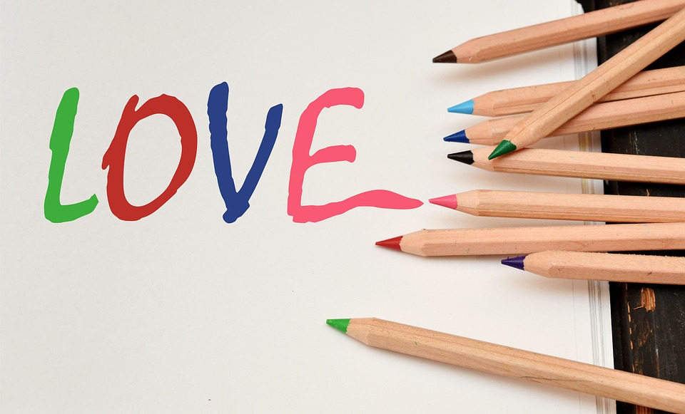 Romantic love messages written in crayon