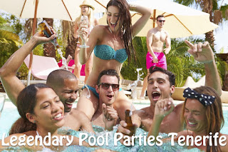 A group enjoying a pool party in Tenerife