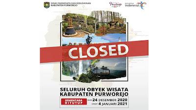 Jelang Nataru, Tempat Wisata di Kabupaten Purworejo ditutup Total