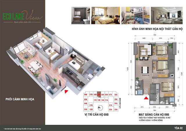 Thiết kế căn hộ 09B tòa HH2 chung cư ECO LAKE VIEW