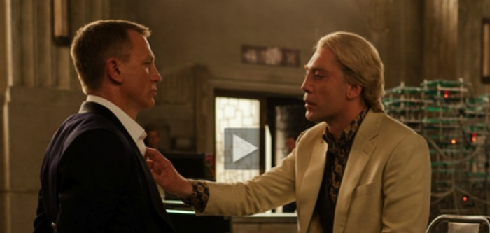 Daniel Craig as Bond and Javier Bardem as Raoul Silva fixing Bond's tie