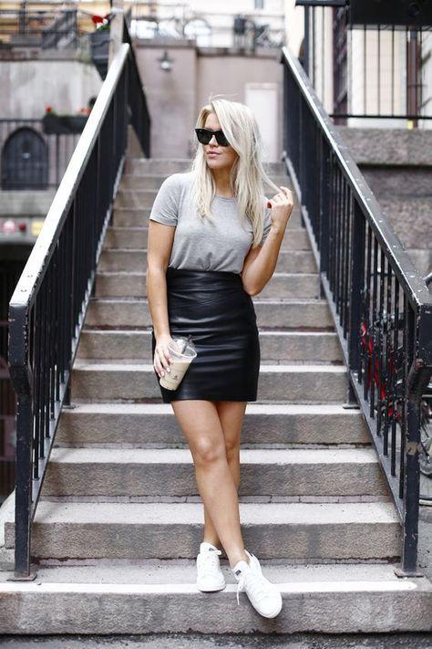 como usar saia de couro no verão