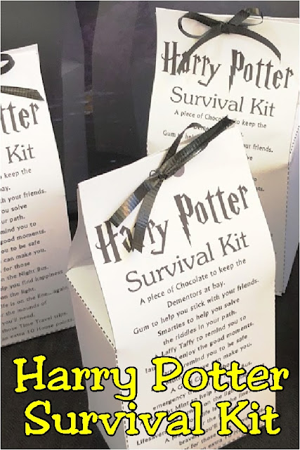 Celebrate your love of Harry Potter with this fun printable Harry Potter Survival Kit. You'll find all the candy and chocolate treats to get you through another year of Hogwarts or your next Harry Potter party. This printable survival kit is the perfect party favor or party treat for any Harry Potter fan. #harrypotterparty #harrypotterpartyfavor #printableharrypotter #diypartymomblog