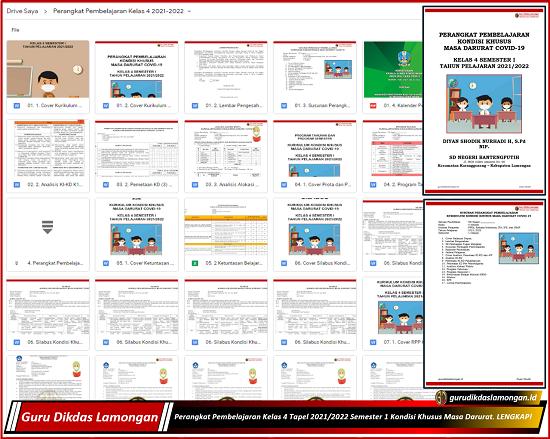Perangkat Pembelajaran Kelas 4 Tapel 2021/2022 Semester 1 Kondisi Khusus Masa Darurat. LENGKAP!