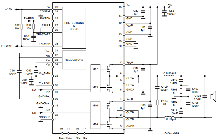 tda2030 bridge amplifier circuit diagram