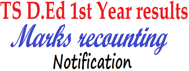 TS, D.Ed 1st Year 2015 results,marks recounting