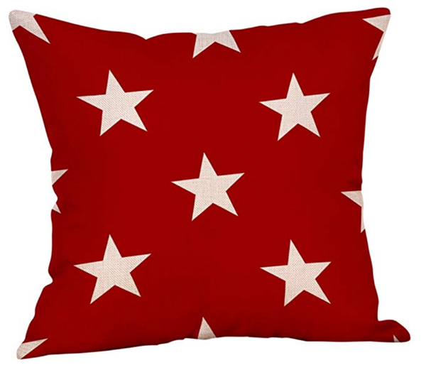 Stars on Red Pillow Cover