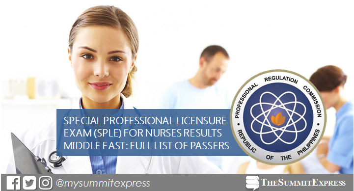 NLE Result: August 2019 Nursing board exam SPLE passers (Middle East)