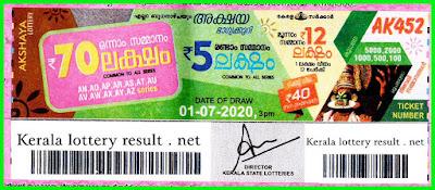 Kerala Lottery Result 01-07-2020 Akshaya AK-452 Lottery Result
