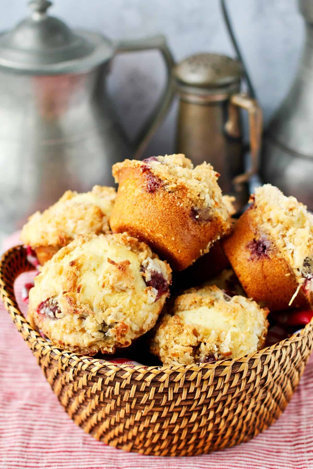 Sour Cherry Muffins with Coconut Streusel.