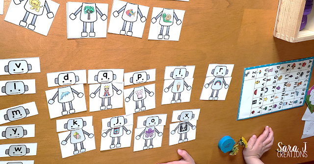 R is for Robot beginning sounds practice