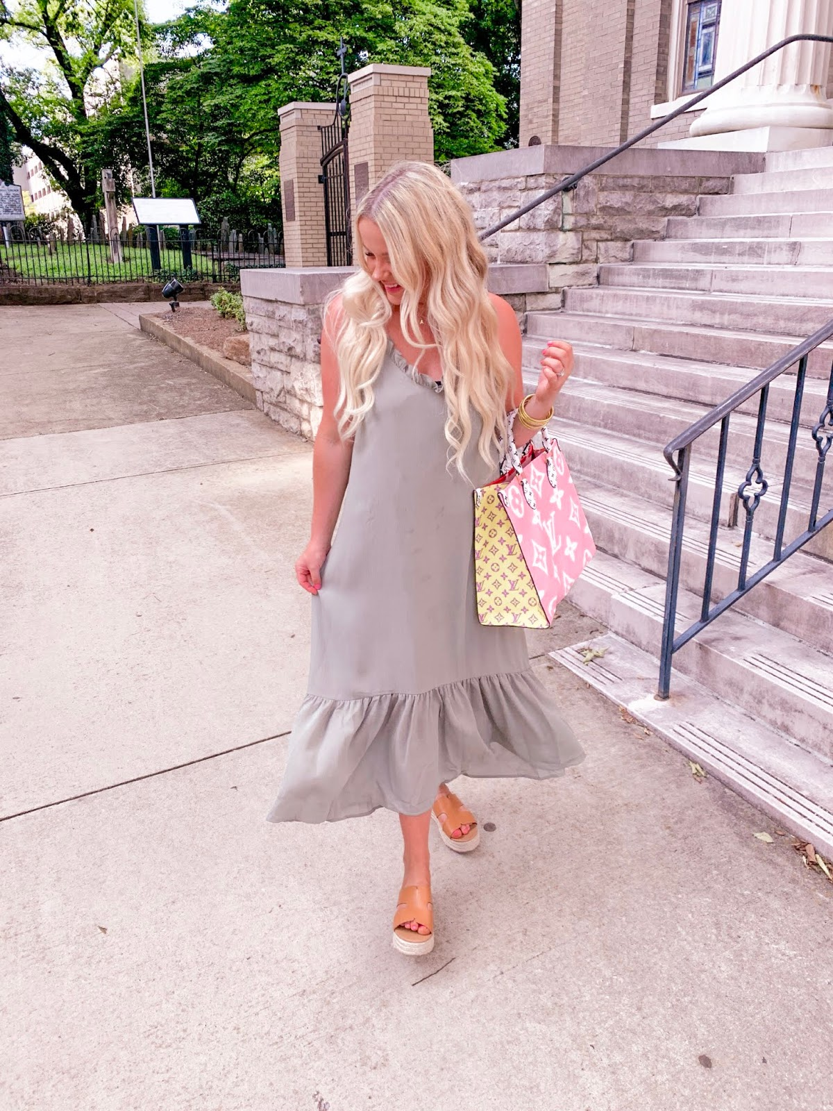 blonde blogger styling summer maxi dresses