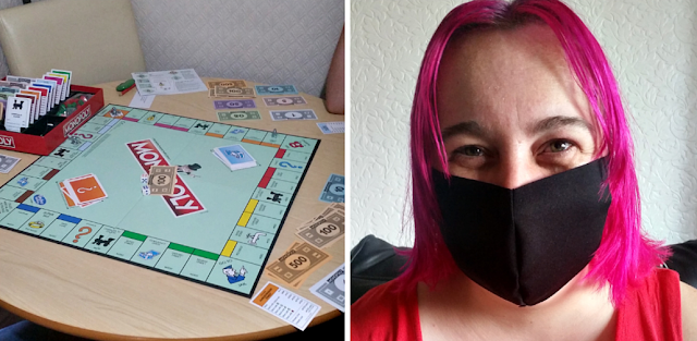 The board game Monopoly and me wearing a mask
