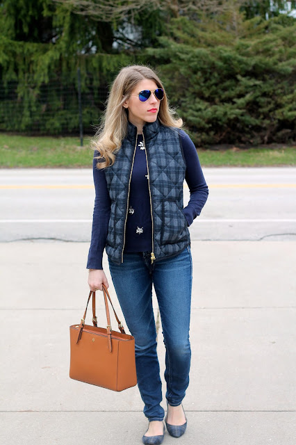 navy embellished sweater, plaid vest, Silver Joga Jeans, Tory Burch tote, plaid flats