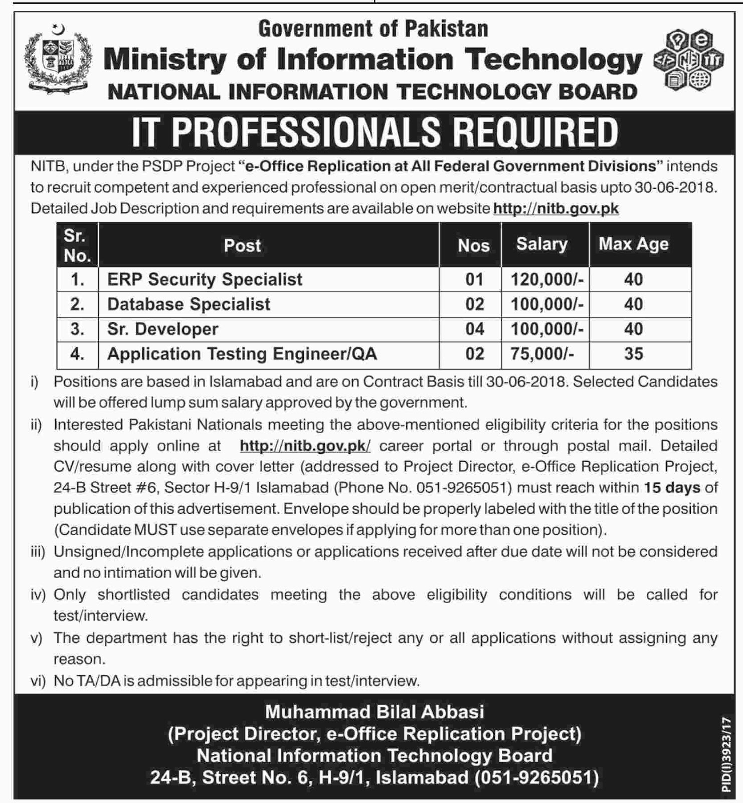 Ministry Of Information Technology latest Jobs 2018 nitb.gov.pk