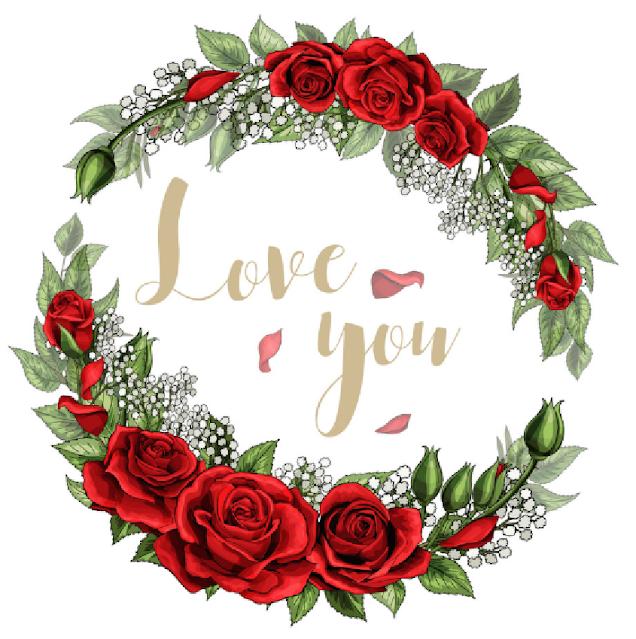 logo love you bunga mawar merah