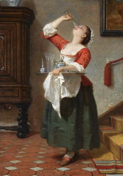 Wilhelm August Lebrecht Amberg 1822-1899 - Genre painting
