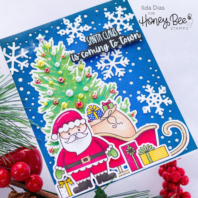 Santa Claus Is Coming To Town Christmas Card | Honey Bee Stamps