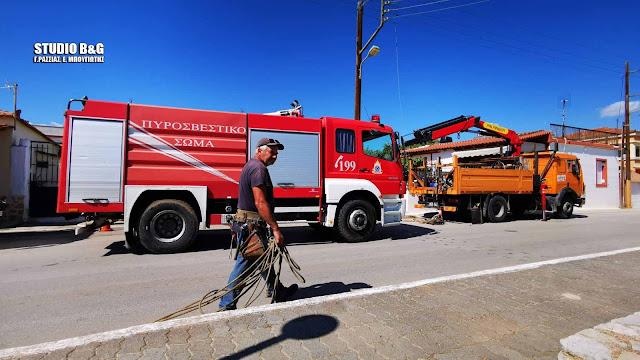 Χωρίς αισθήσεις ο εργατοτεχνίτης που χτυπήθηκε από υψηλή τάση στο Ναύπλιο