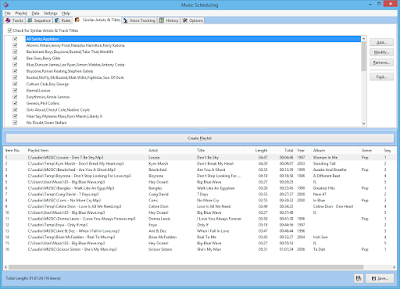 Music Scheduling window with similar artist and track title information