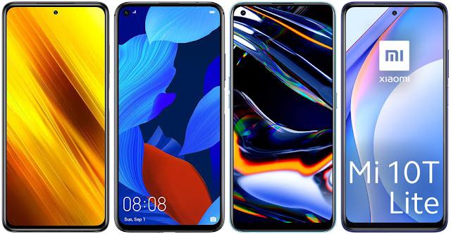 Xiaomi POCO X3 NFC 128 GB vs Huawei Nova 5T vs Realme 7 Pro vs Xiaomi Mi 10T Lite 5G