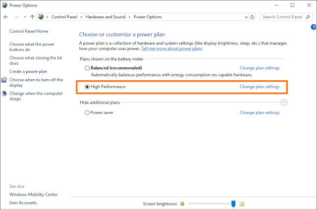 Power Setting To High Performance Windows 10