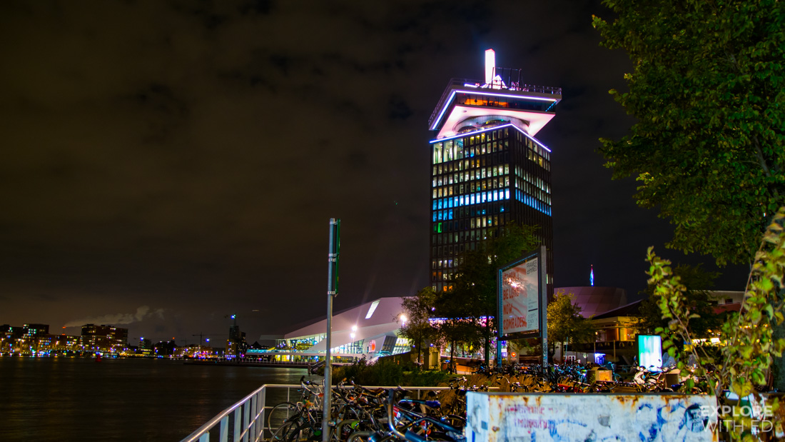 A'DAM Lookout tower in Amsterdam North at night, the location of Europe's highest swing